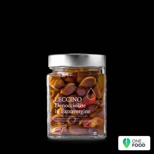 Schwarze Leccino Oliven Entkernt Angemacht In Olivenol